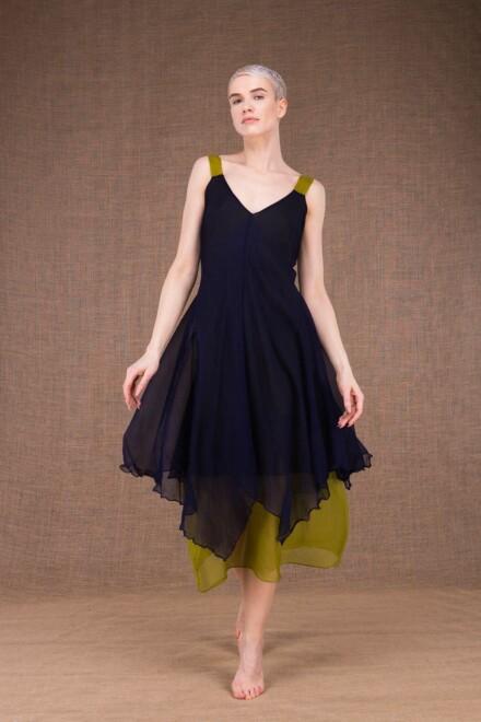 Jade robe bleu cobalt-pistache en soie - 1