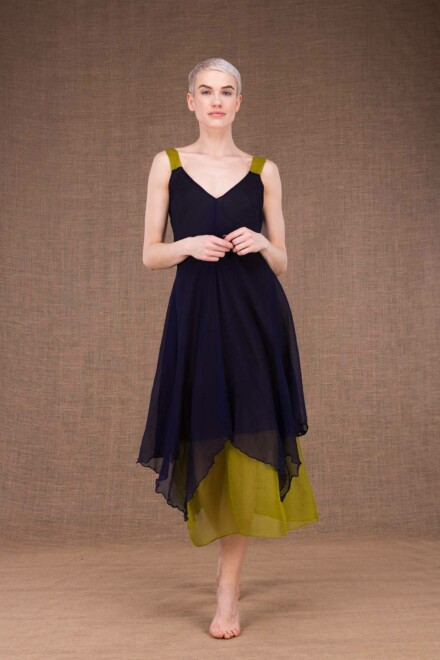 Jade blue cobalt-pistachio silk dress - 2