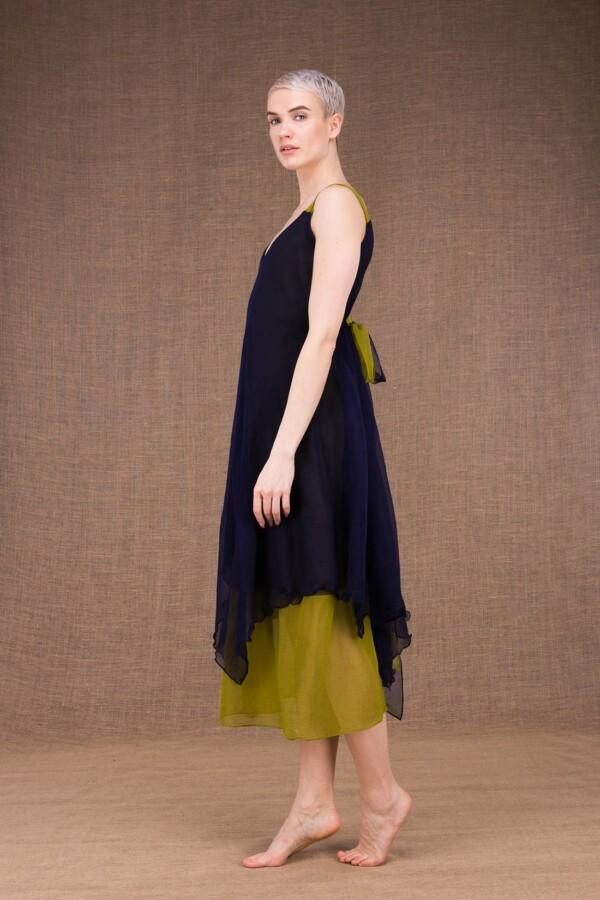 Jade robe bleu cobalt-pistache en soie - 3