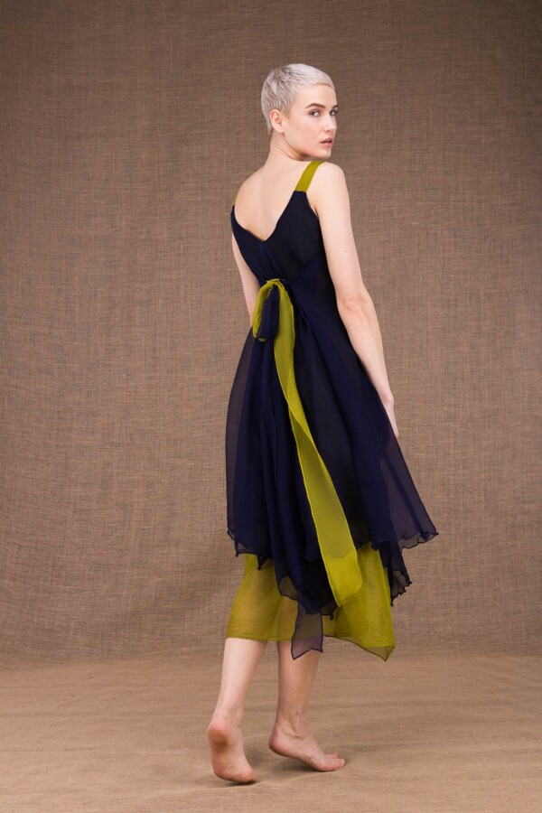 Jade robe bleu cobalt-pistache en soie - 4