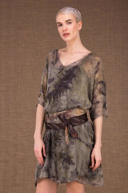 Laube silk hand printing tunic dress - 1