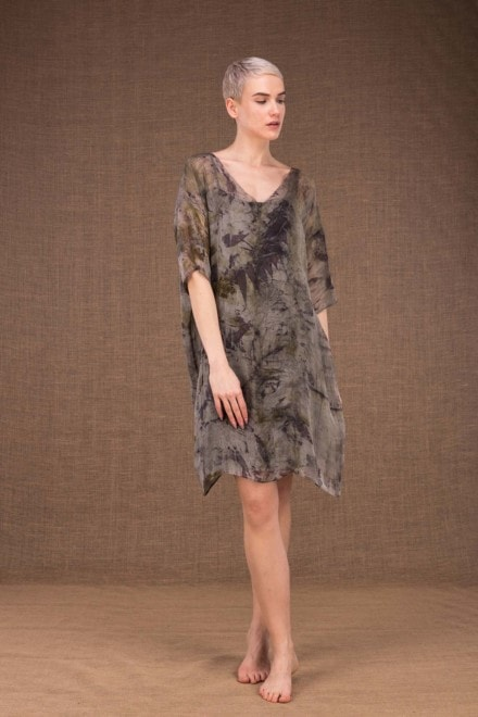 Laube silk hand printing tunic dress - 2