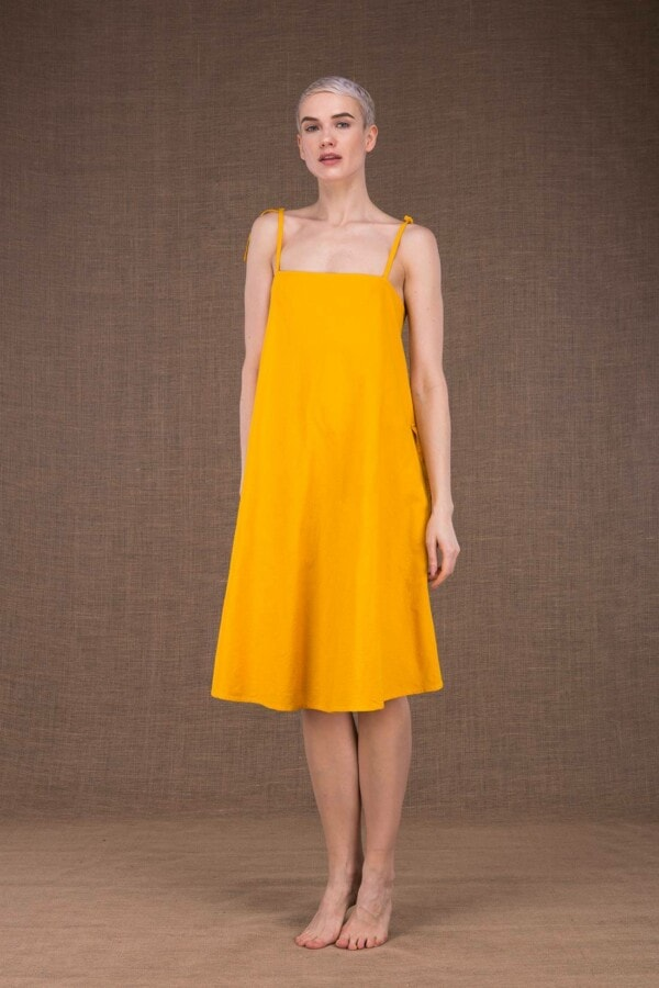 Ma Courte robe jaune en coton - 2