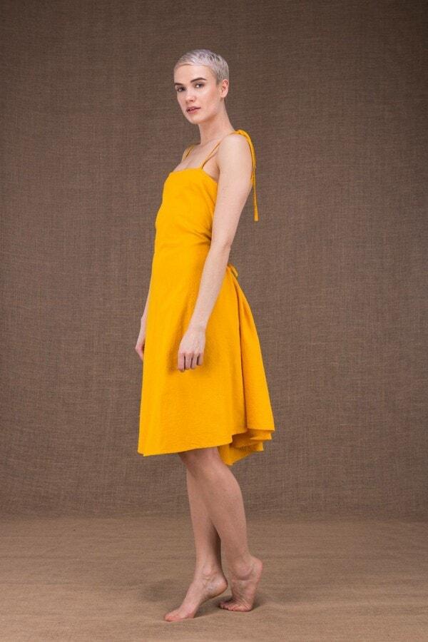Ma Courte robe jaune en coton - 3