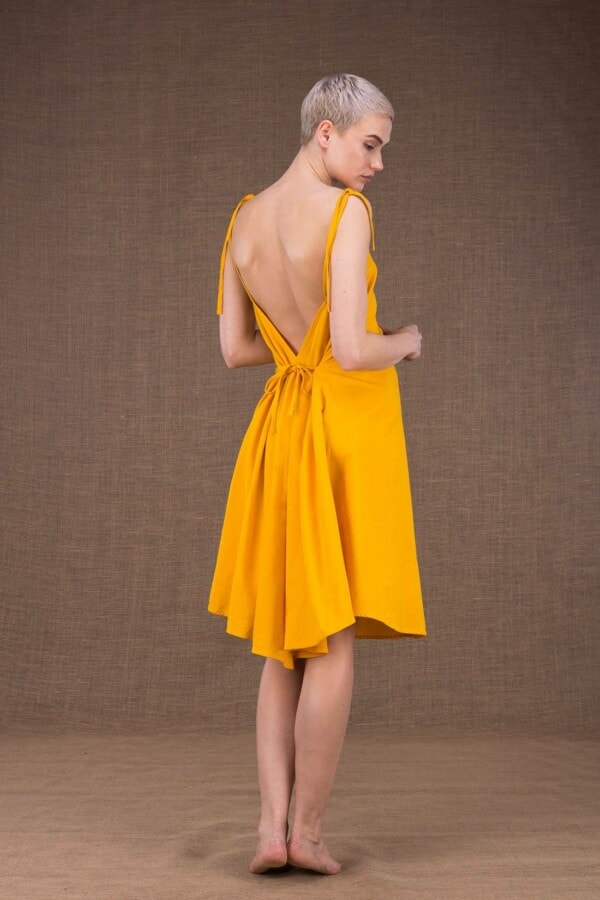 Ma short yellow dress in cotton - 4