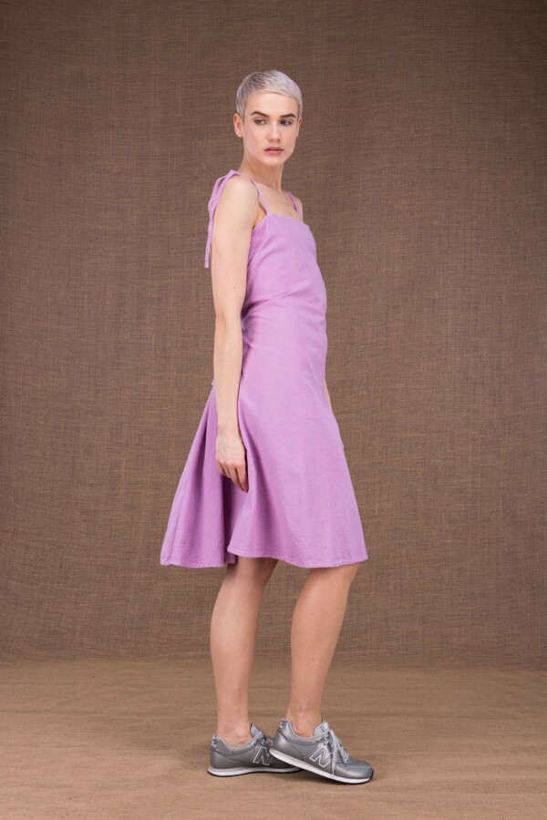 Ma courte robe mauve en coton - 1