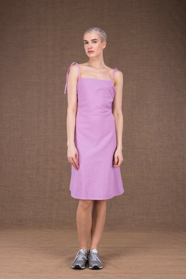 Ma courte robe mauve en coton - 2