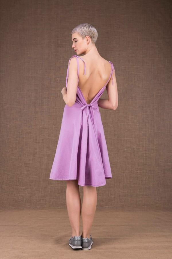 Ma courte robe mauve en coton - 4