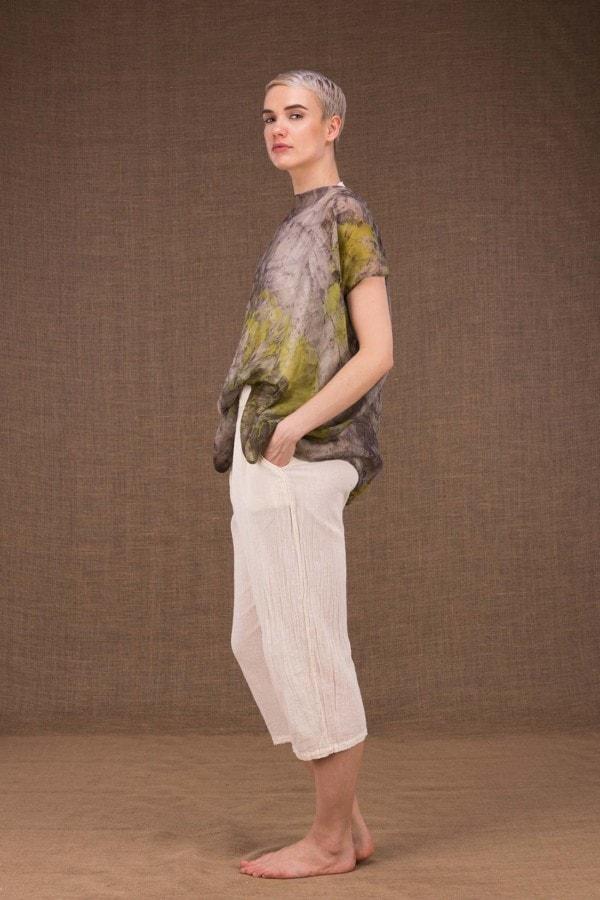 Ondine botanical hand printed silk top - 1