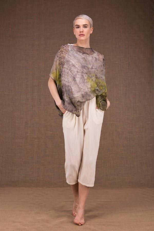 Ondine botanical printed silk top - 2