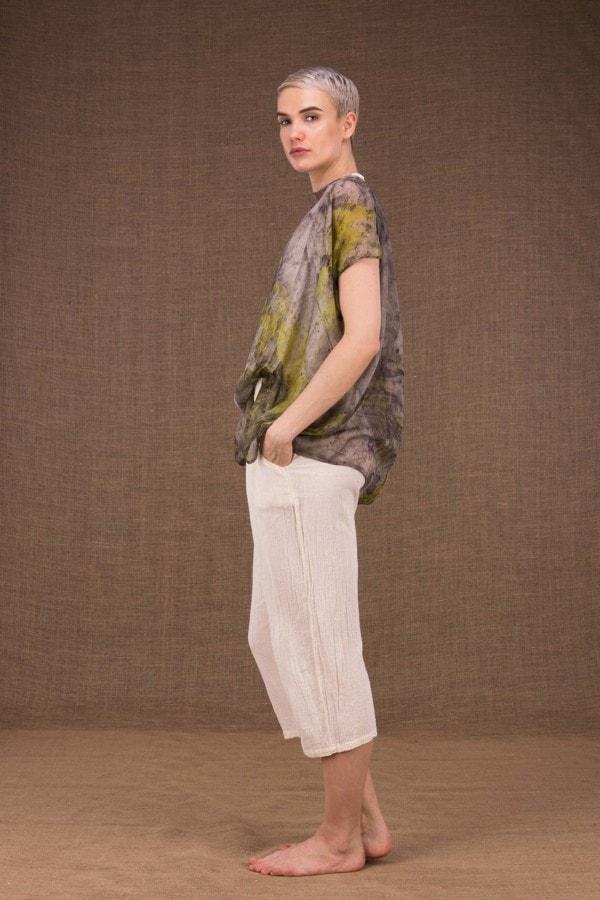 Ondine botanical printed silk top - 3
