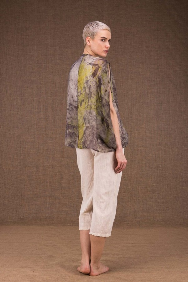 Ondine botanical hand printed silk top - 4