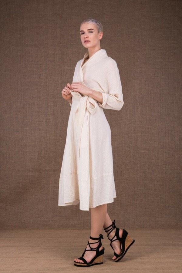 Polaris ecru wrap dress in cotton - 3