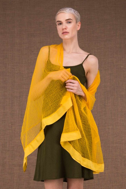 Sirro yellow shawl in cotton gauze - 1jpg
