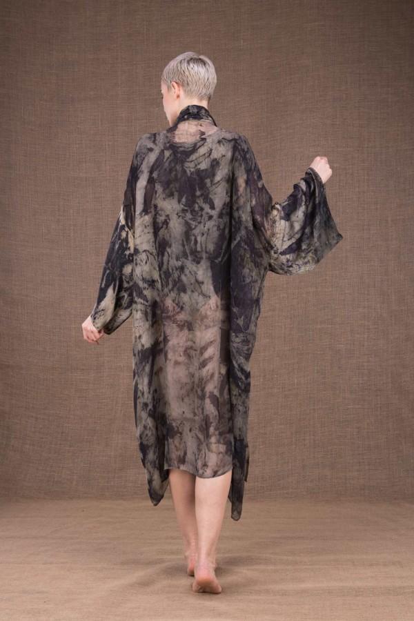 Tropical robe-kimono imprime a la main en soie - 4