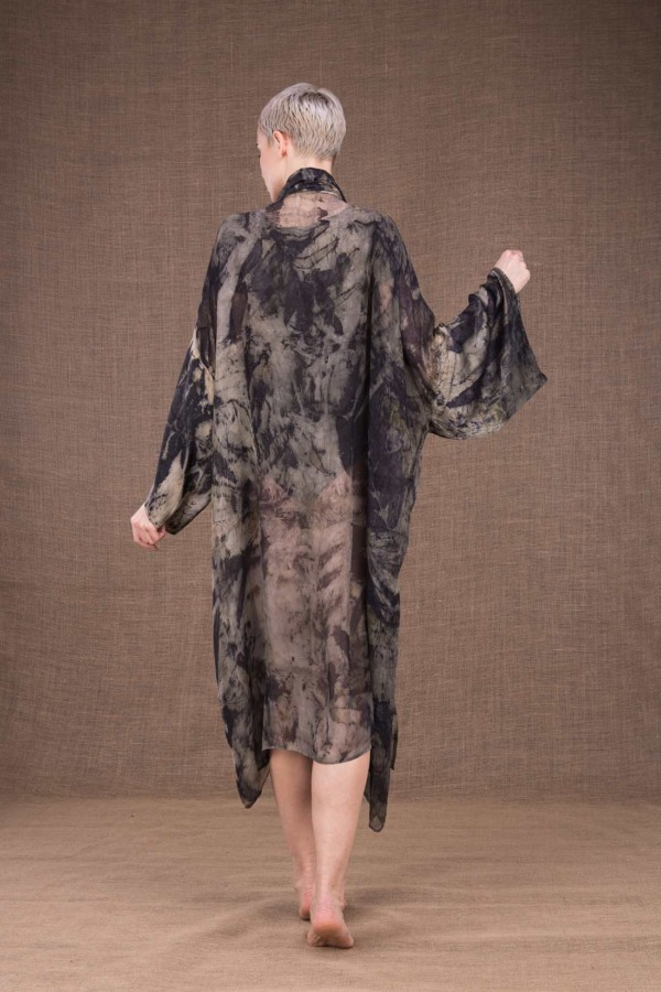 Tropical dress-kimono printed by hand in silk - 4