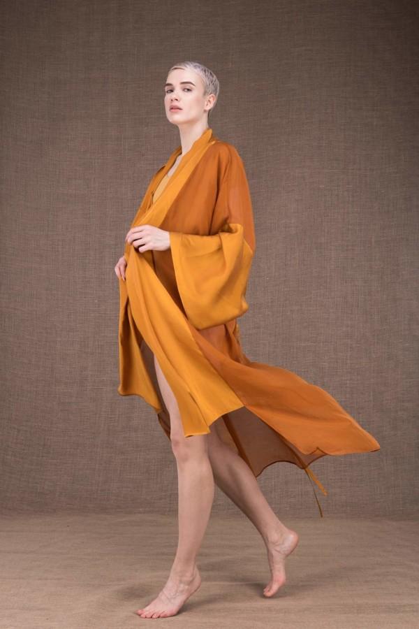 Wezen Saffron silk kimono - 1