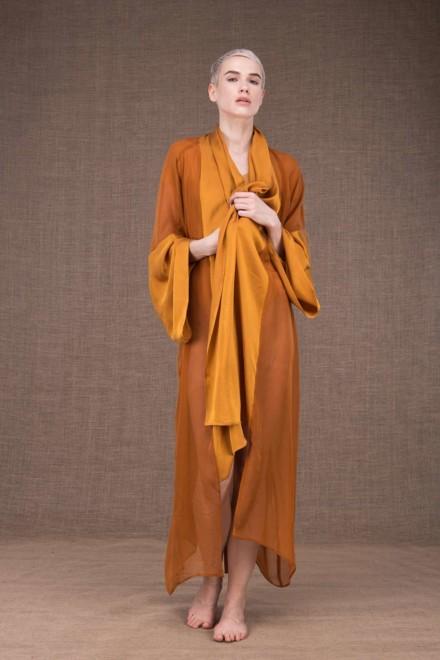 Wezen Saffron silk kimono - 2