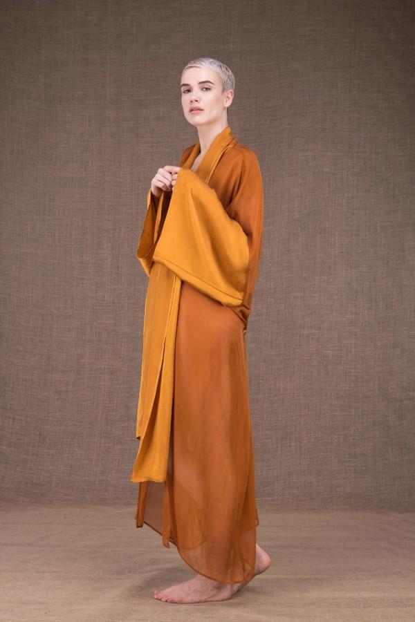 Wezen Saffron silk kimono - 3