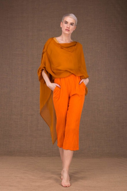 Wiatr orange cotton pants - 1