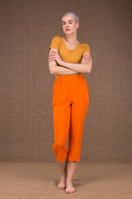 Wiatr orange cotton pants - 2