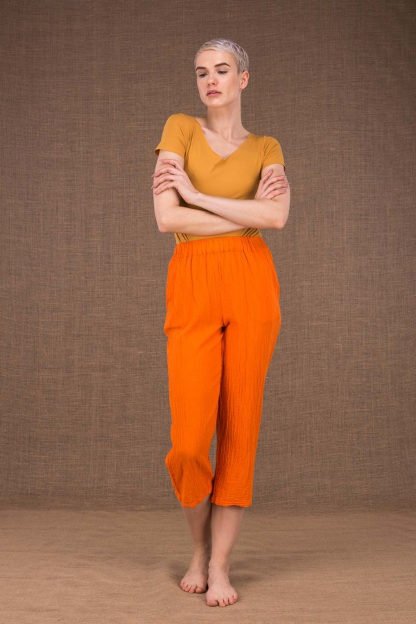 Wiatr pantalon orange en coton - 2