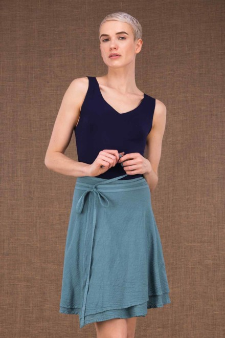 aria blue cotton short wrap skirt - 1