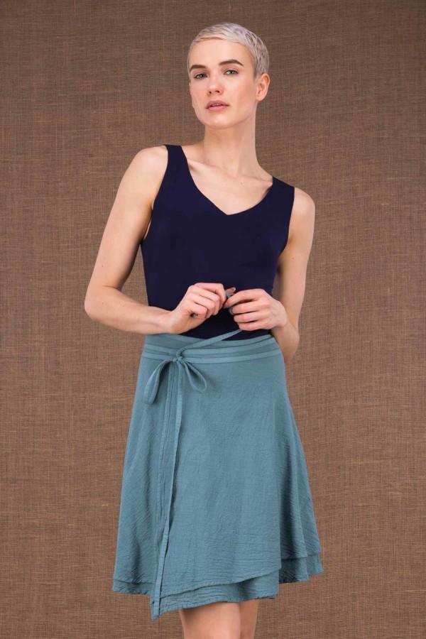aria jupe courte portefeuille bleu en coton - 1