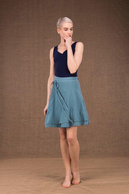 Aria jupe courte portefeuille bleu en coton - 2
