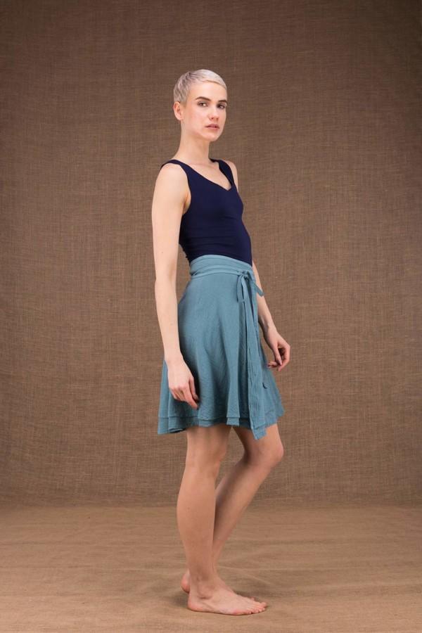 Aria jupe courte portefeuille bleu en coton - 3