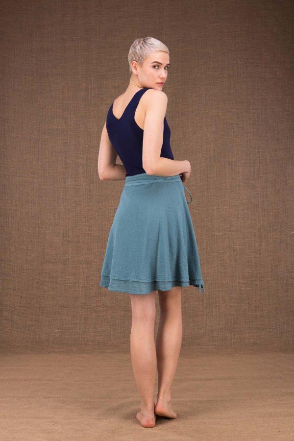 Aria jupe courte portefeuille bleu en coton - 4