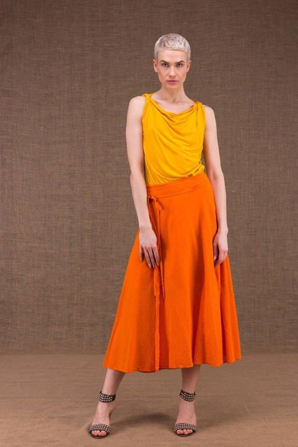 Arial orange cotton dress - 4
