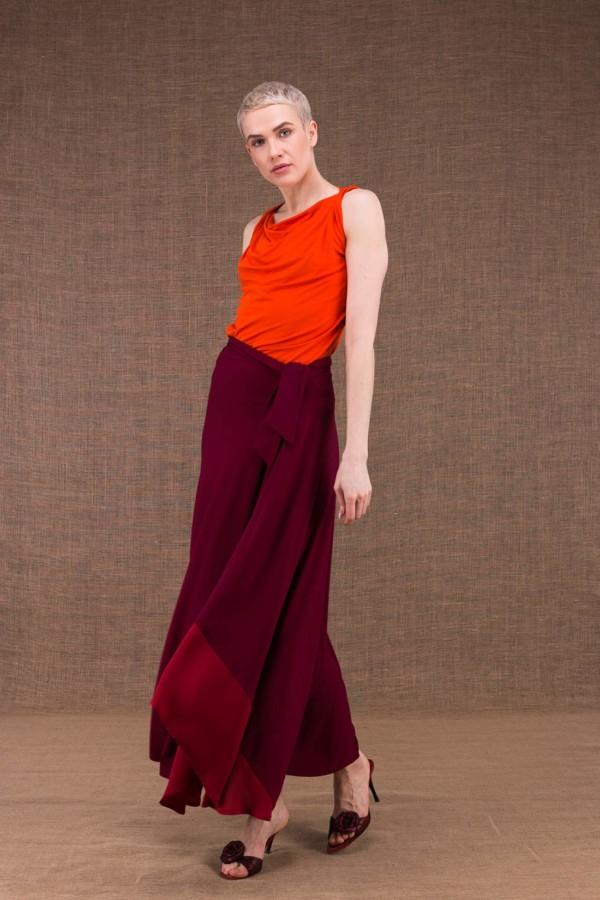 Blizzair jupe longue evaisee bordeaux en maille de viscose - 1
