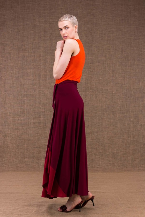 Blizzair long skirt evaisee burgundy knit viscose - 2