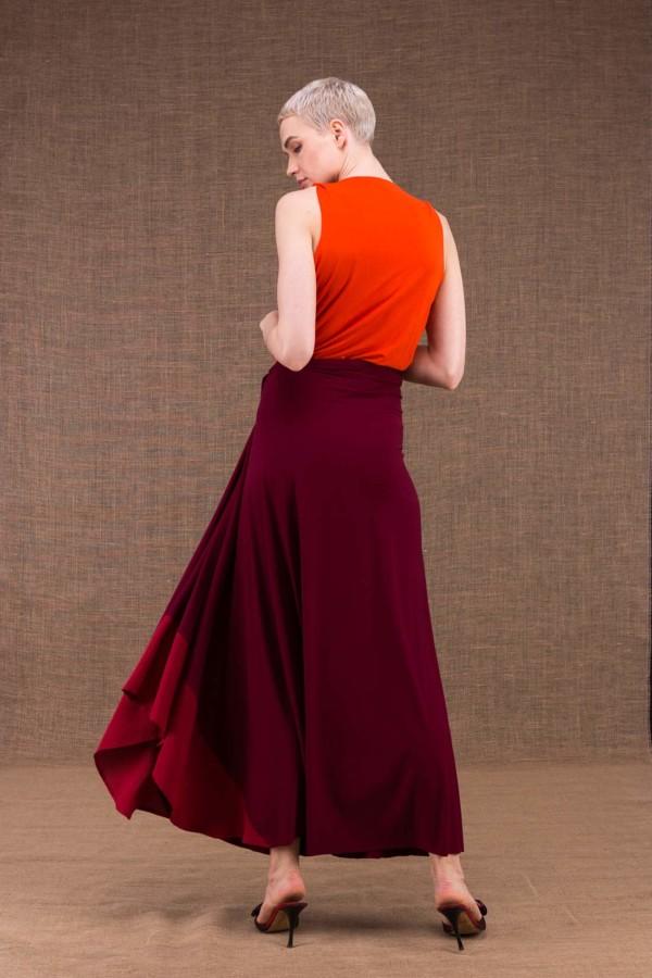 Blizzair jupe longue evaisee bordeaux en maille de viscose - 3
