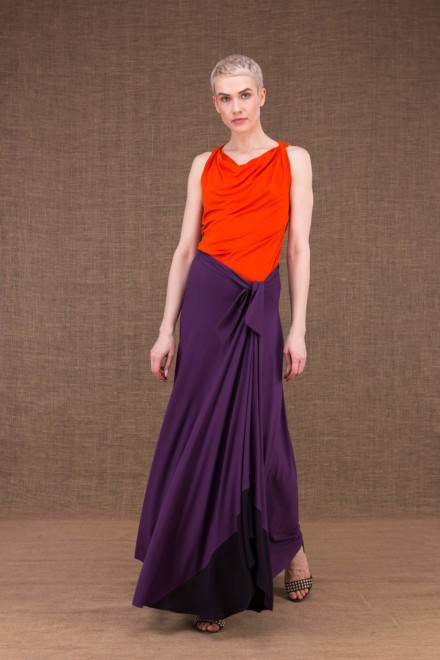 Blizzair plum long skirt in viscose knit - 1
