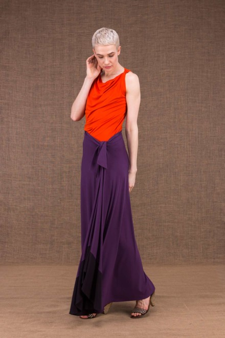 Blizzair plum long skirt in viscose knit - 2