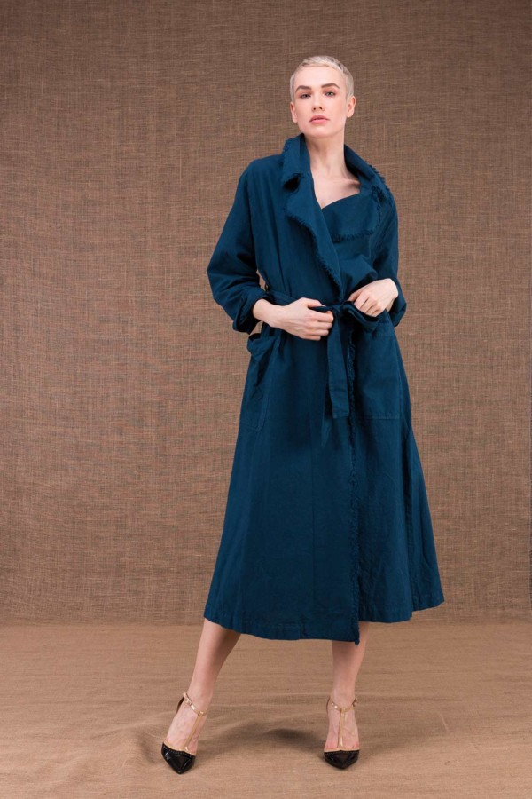 Bogart blue trench coat cotton duck - 1