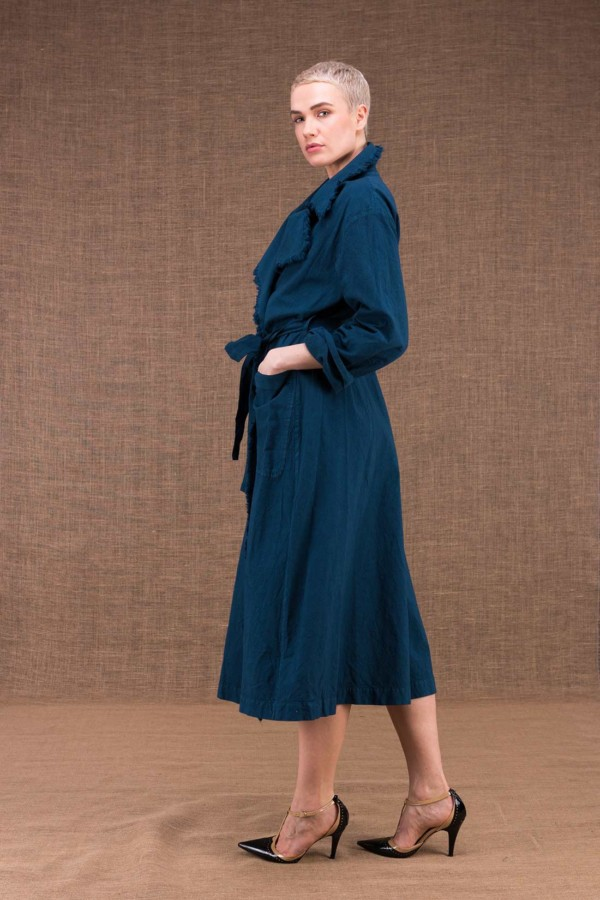 Bogart blue trench coat cotton duck - 2
