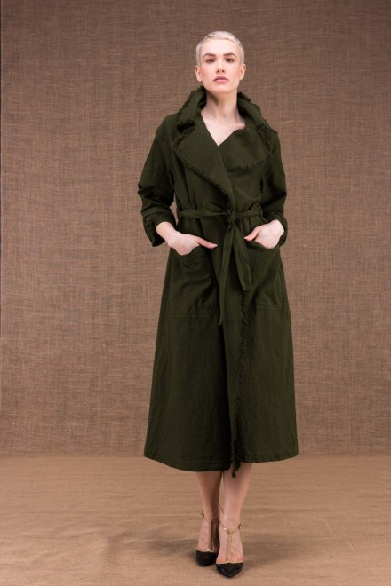 Bogart khaki cotton trench coat - 1