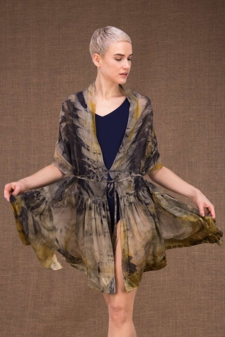 Bora Bora hand printed silk shawl - 1