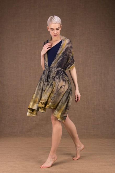 Bora Bora hand printed silk shawl - 2