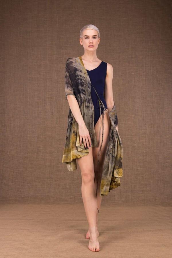 Bora Bora hand printed silk shawl - 3