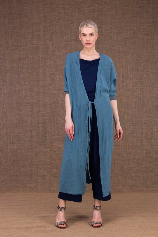 Gobi Long Blue Cotton Jacket - 1