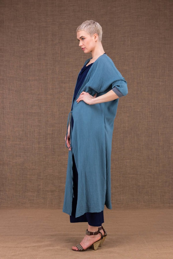 Gobi Long Blue Cotton Jacket - 3