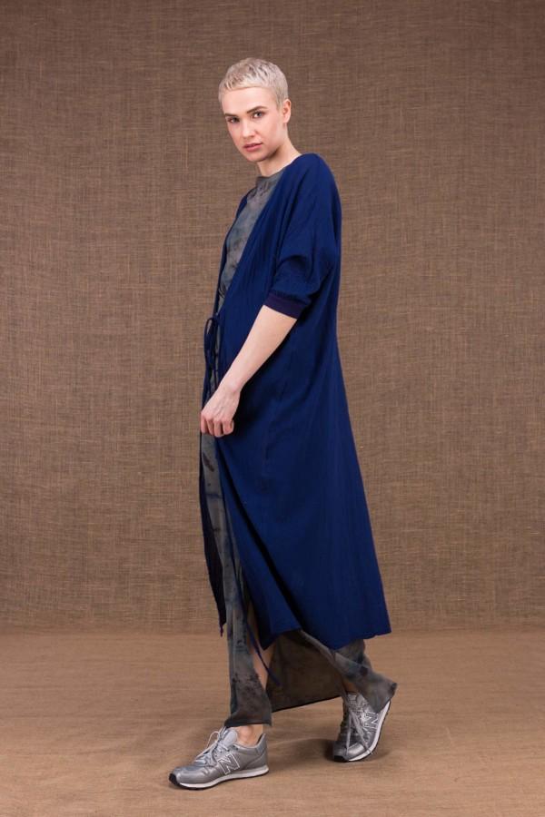 Gobi veste longue bleu encre en coton - 1