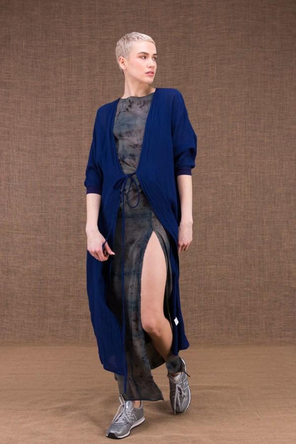 Gobi veste longue bleu encre en coton - 2