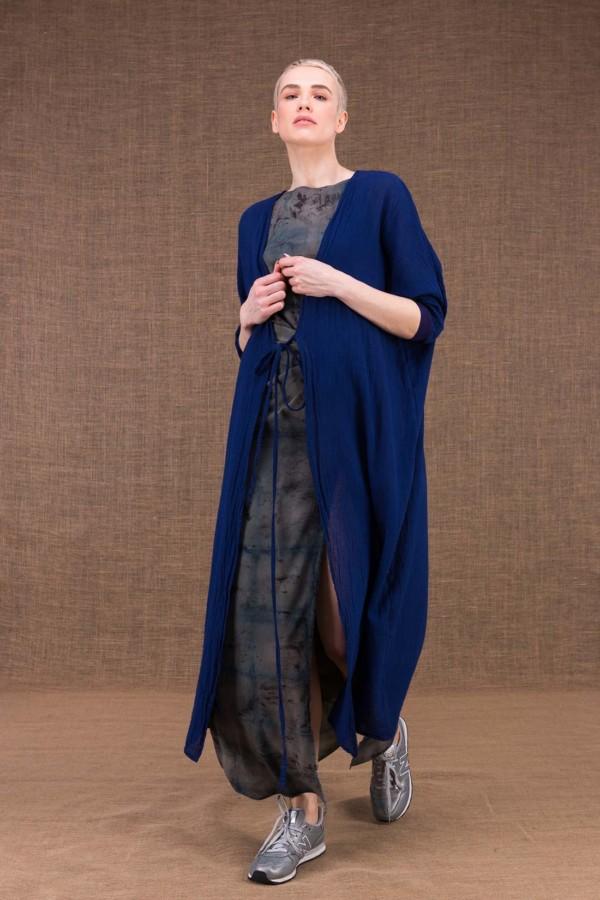 Gobi veste longue bleu encre en coton - 3