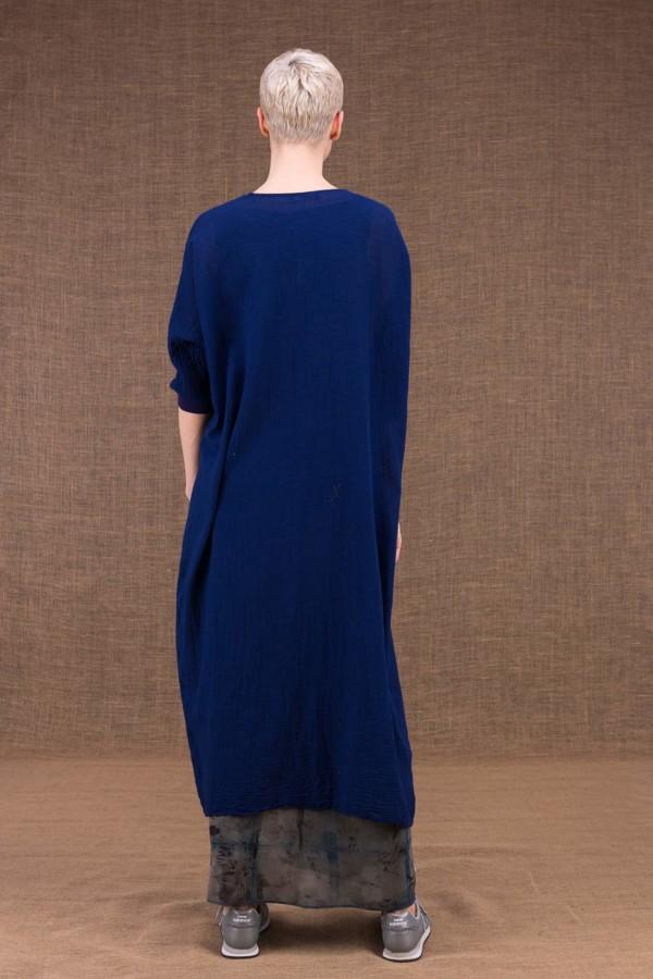 Gobi veste longue bleu encre en coton - 4