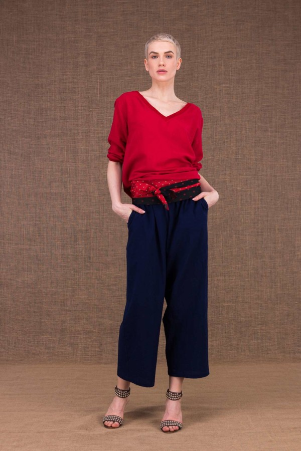 Halny wide dark blue cotton trousers - 1